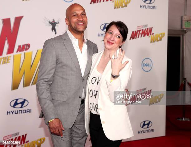 KeeganMichael Key and Elisa Pugliese attend the premiere of Disney And Marvel's 'AntMan And The Wasp' on June 25 2018 in Los Angeles California