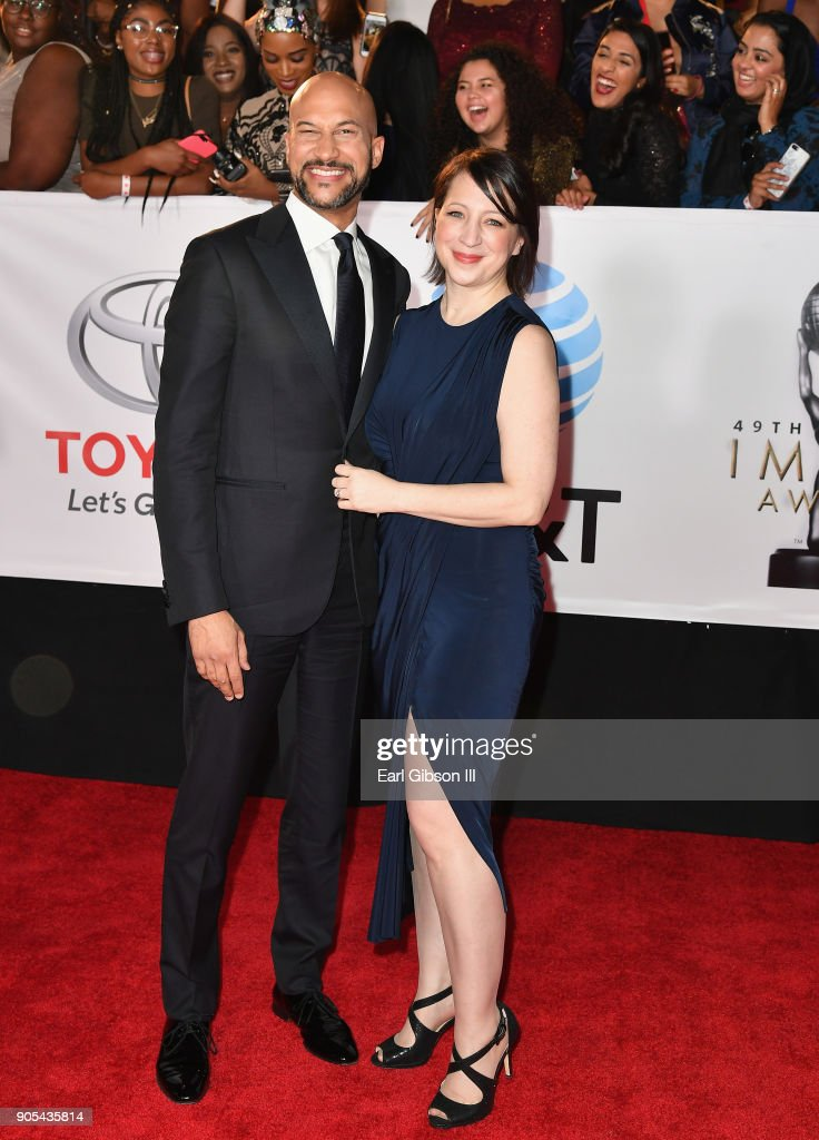 Keegan-Michael Key (L) and Elisa Pugliese at the 49th NAACP Image Awards on January 15, 2018 in Pasadena, California.