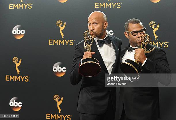 KeeganMichael Key and Jordan Peele pose in the press room at the 68th annual Primetime Emmy Awards at Microsoft Theater on September 18 2016 in Los...