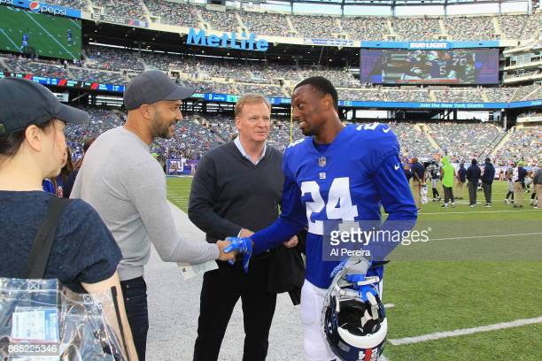 KeeganMichael Key and National Fooball Commisioner Roger Goodell greet Cornerback Eli Apple of the New York Giants when they attend the Seattle...
