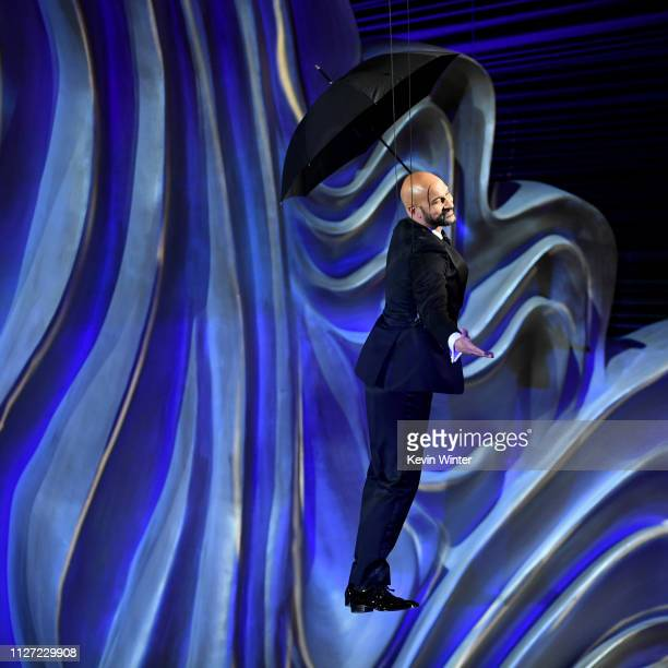 Retransmission with alternate crop KeeganMichael Key descends to the floor during the 91st Annual Academy Awards at Dolby Theatre on February 24 2019...