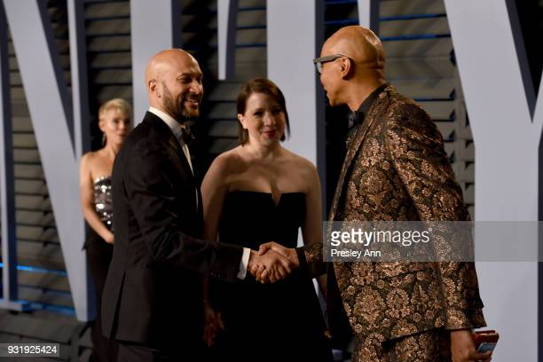 KeeganMichael Key Elisa Pugliese and RuPaul attends the 2018 Vanity Fair Oscar Party Hosted By Radhika Jones Arrivals at Wallis Annenberg Center for...