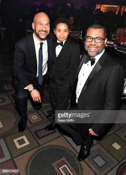 KeeganMichael Key Ethan Hutchison and Jordan Peele attend 49th NAACP Image Awards After Party at Pasadena Civic Auditorium on January 15 2018 in...