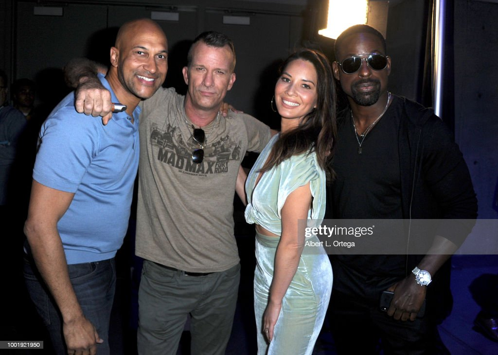 Keegan-Michael Key, Thomas Jane, Olivia Munn, and Sterling K. Brown pose during the 20th Century Fox's 'The Predator' panel during Comic-Con International 2018 at San Diego Convention Center on July 19, 2018 in San Diego, California.