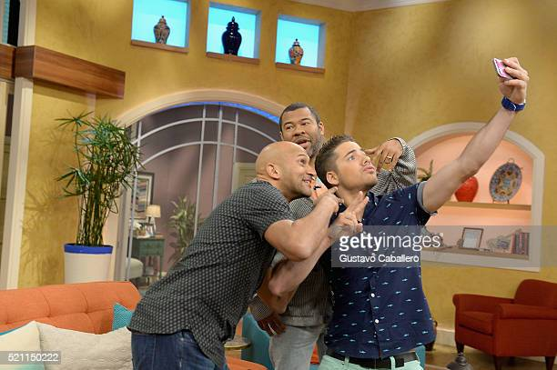 KeeganMichael KeyJordan Peele and William Valdes is on the set of Univisions despierta America in support of thefilm Keanu at Univision Headquarters...