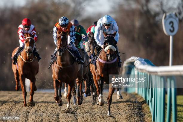 Keelan Baker riding Bertie Moon lead all the way to win The Betway Apprentice Selling Stakes at Lingfield Park racecourse on December 28 2017 in...