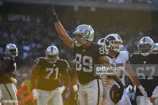 Keelan Doss of the Oakland Raiders celebrates after scoring a touchdown against the Los Angeles Rams during their NFL preseason game at RingCentral...