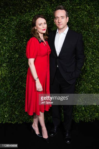 Keeley Hawes and Matthew Macfadyen attends the Charles Finch Chanel preBAFTA's dinner at Loulou's on February 09 2019 in London England
