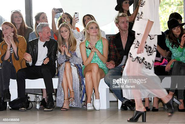 Keeley Hawes, guest, Olivia Palermo, Pixie Lott, Trent Whiddon and Sarah-Ann Macklin attend the ISSA Spring/Summer 2015 Show during London Fashion...