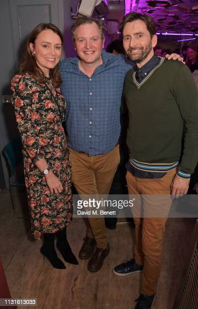 Keeley Hawes Miles Jupp and David Tennant attend the press night after party for 'The Life I Lead' at The Park Theatre on March 19 2019 in London...