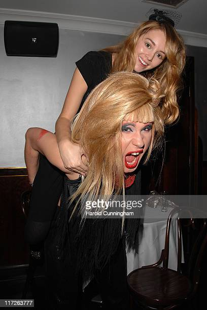 Keeley Hazell and Jodie Harsh attend PETA's London Fashion Week Party at The Last Days Of Decadence on February 20 2009 in London England