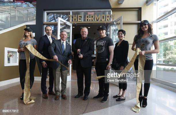 Keelin McLachlan Neeme Abouzeid Kerry Bubolz Gerard Gallant Connor Fields Erin Jones and Emily Callaway all partake in the ribbon cutting ceremony to...
