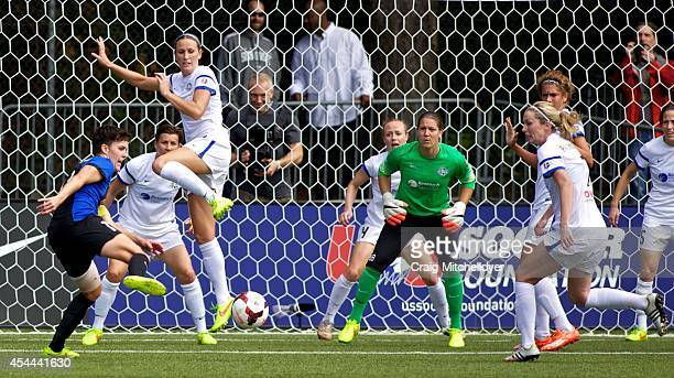 Keelin Winters of Seattle Reign FC takes a shot against FC Kansas City in the second half of the National Women's Soccer League Championship on...