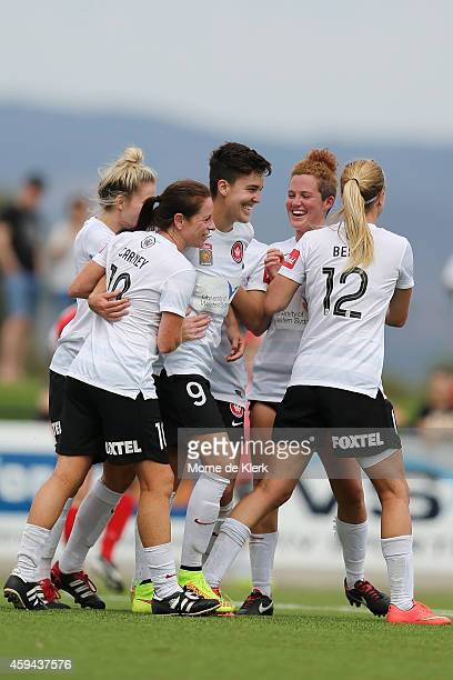 Keelin Winters of Western Sydney is congratulated by teammates after she scored a goal from the penalty spot during the round 11 W-League match...