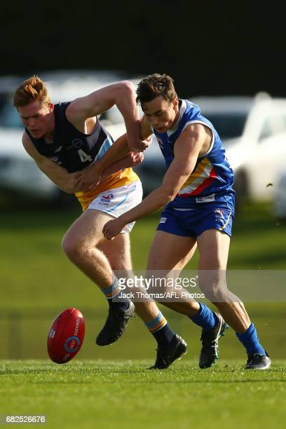 Keeling Betson of the Pioneers and Thomas North of the Ranges compete for the ball during the round seven TAC Cup match between the Eastern Ranges...