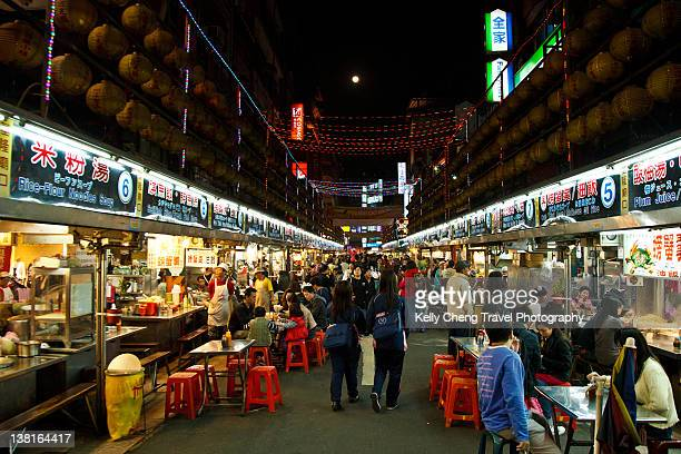 keelung miaokou night market - taiwan stock photos and pictures