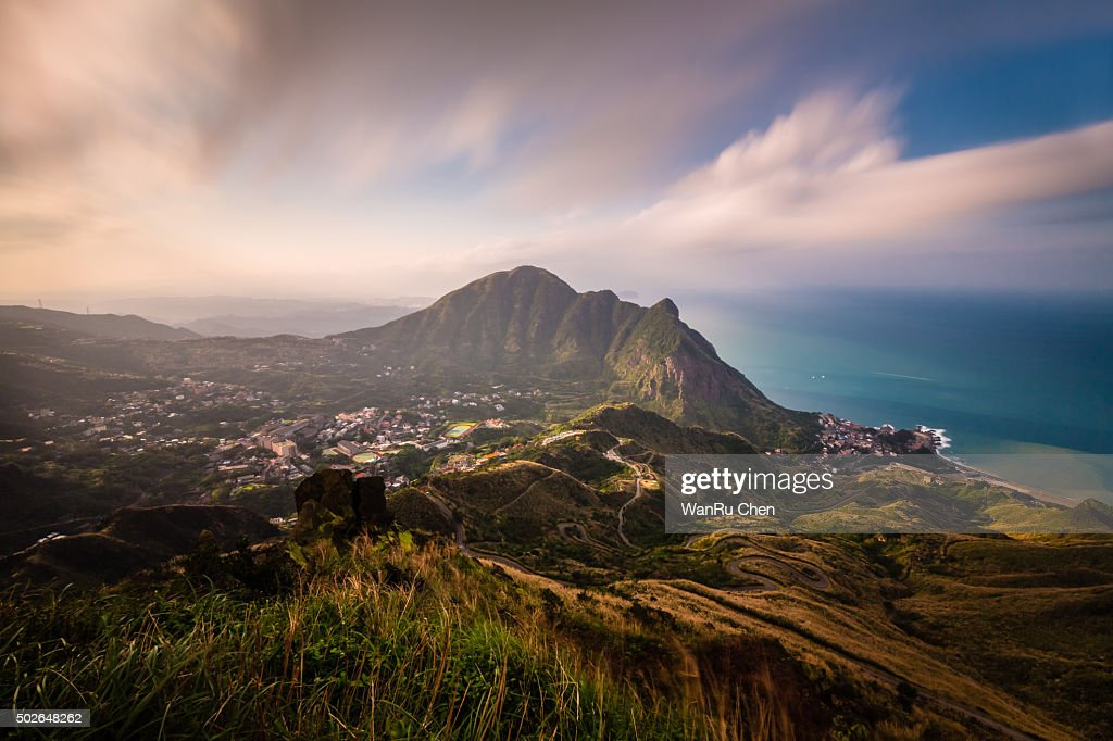 Keelung Mountain and village : Stock Photo