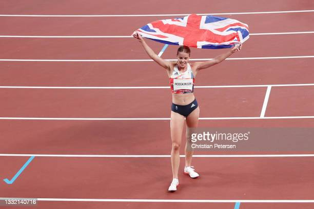 Keely Hodgkinson of Team Great Britain celebrates after winning the silver medal in the Women's 800m Final on day eleven of the Tokyo 2020 Olympic...