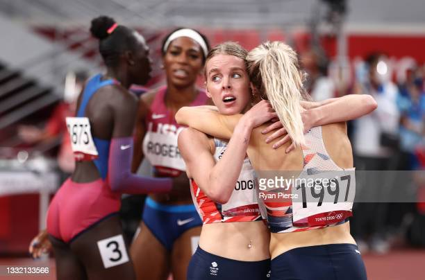 Keely Hodgkinson of Team Great Britain is congratulated by Alexandra Bell of Team Great Britain as she wins the silver medal in the Women's 800m...