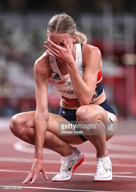 Keely Hodgkinson of Team Great Britain reacts after winning the silver medal in the Women's 800m Final on day eleven of the Tokyo 2020 Olympic Games...