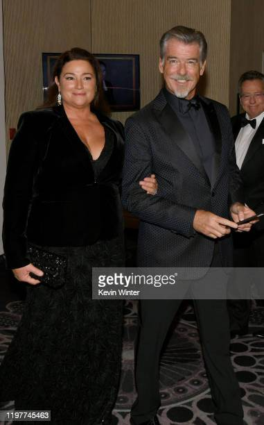 Keely Shaye Brosnan and Pierce Brosnan attend the 77th Annual Golden Globe Awards Cocktail Reception at The Beverly Hilton Hotel on January 05 2020...