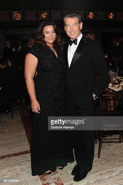 Keely Shaye Smith and actor Pierce Brosnan attends The Film Society of Lincoln Center's 40th Chaplin Award Gala supported by Grey Goose vodka at...