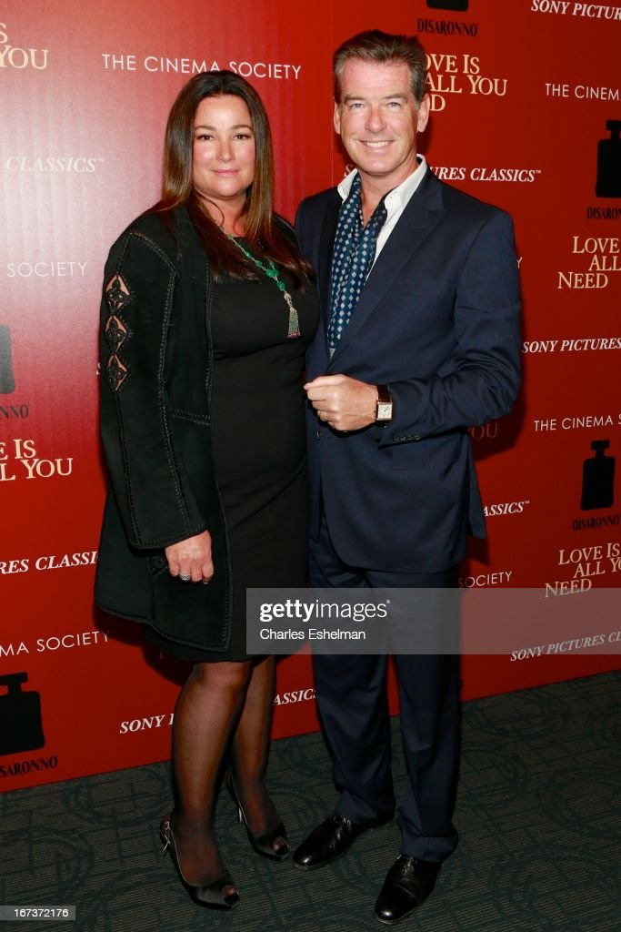 Keely Shaye Smith and husband Pierce Brosnan attend The Cinema Society & Disaronno screening of Sony Pictures Classics' 'Love Is All You Need' at Landmark Sunshine Cinema on April 24, 2013 in New York City.