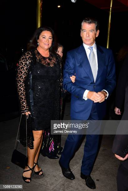 Keely Shaye Smith and Pierce Brosnan arrive to the Russian Tea Room on November 7 2018 in New York City