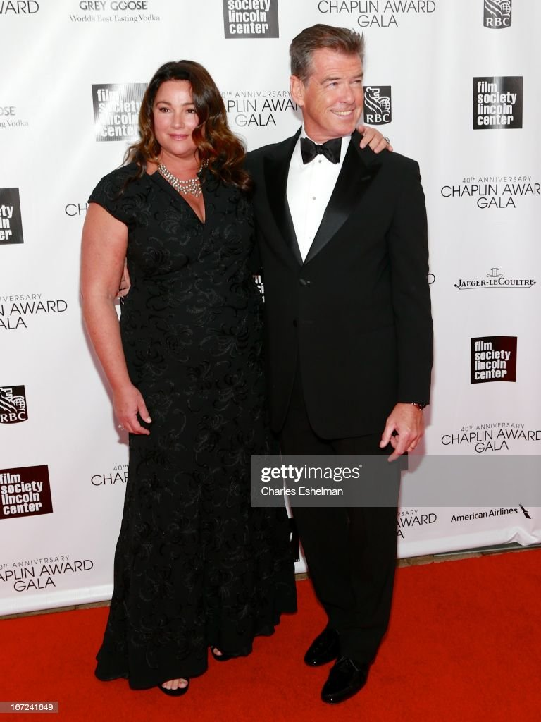 Keely Shaye Smith and Pierce Brosnan attend the 40th Anniversary Chaplin Award Gala at Avery Fisher Hall at Lincoln Center for the Performing Arts on April 22, 2013 in New York City.
