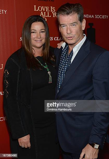 Keely Shaye Smith and Pierce Brosnan attend The Cinema Society Disaronno screening of Sony Pictures Classics' 'Love Is All You Need' at Landmark...
