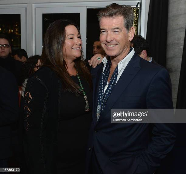 Keely Shaye Smith and Pierce Brosnan attend The Cinema Society Disaronno screening of Sony Pictures Classics' Love Is All You Need after party at The...