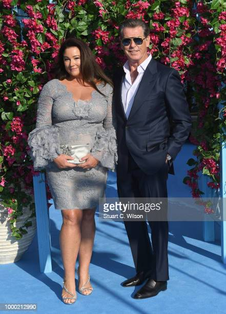 Keely Shaye Smith and Pierce Brosnan attend the Mamma Mia Here We Go Again world premiere at the Eventim Apollo Hammersmith on July 16 2018 in London...