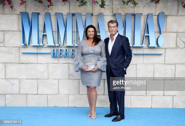 Keely Shaye Smith and Pierce Brosnan attend the UK Premiere of Mamma Mia Here We Go Again at Eventim Apollo on July 16 2018 in London England