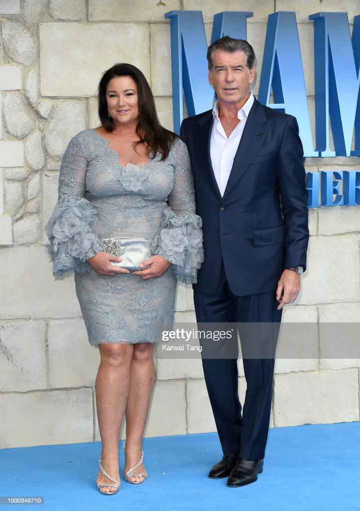 Keely Shaye Smith and Pierce Brosnan attend the World Premiere of 'Mamma Mia! Here We Go Again' at Eventim Apollo on July 16, 2018 in London, England.