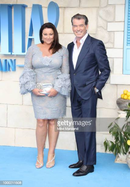 Keely Shaye Smith and Pierce Brosnan attends the World Premiere of Mamma Mia Here We Go Again at Eventim Apollo on July 16 2018 in London England