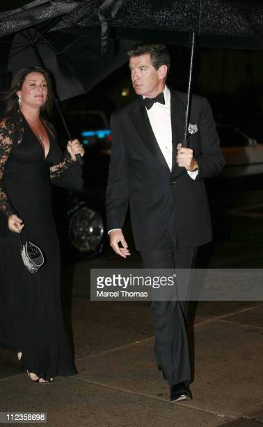 Keely Shaye Smith and Pierce Brosnan during Elton John's 60th Birthday Party at St John the Divine Church in New York City, New York, United States.