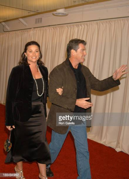 Keely Shaye Smith and Pierce Brosnan during Miramax PreOscar Party and 25th Anniversary Celebration Arrivals at Pacific Design Center in West...