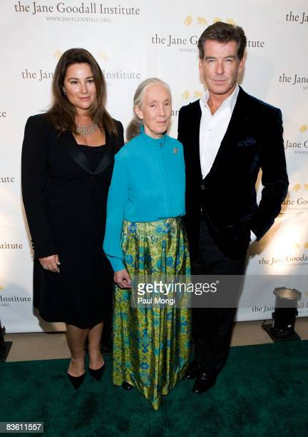 Keely Shaye Smith Jane Goodall and Pierce Brosnan pose for a photo at the 2nd Annual Jane Goodall Institute Global Leadership Awards at the Ronald...
