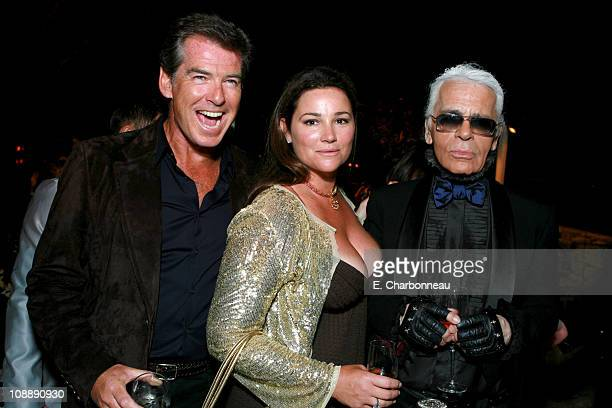 Keely Shaye Smith Pierce Brosnan and Karl Lagerfeld
