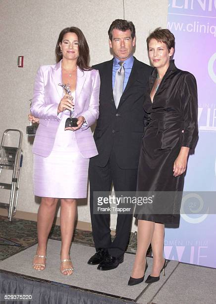 Keely Shaye Smith Pierce Brosnan and presenter Jamie Lee Curtis at the Women in Film's 25th annual Crystal Awards luncheon