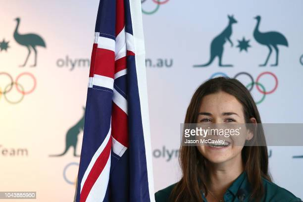 Keely Small looks on during the Australian Youth Olympic Games Flag Bearer Announcement at The Boathouse St Ignatius' College Riverview on October 1...