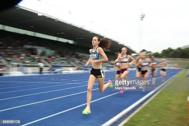 Keely Small of ACT competes in the womens under 18s 800m on day three of the 2017 Australian Athletics Championships at Sydney Olympic Park Sports...