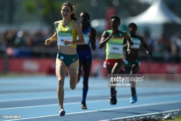 Keely Small of Australia leads Women's 800m during day 8 of Buenos Aires 2018 Youth Olympic Games at Youth Olympic Park Villa Soldati on October 14...