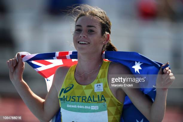 Keely Small of Australia poses with her flag after winning gold in Women's 800m during day 8 of Buenos Aires 2018 Youth Olympic Games at Youth...