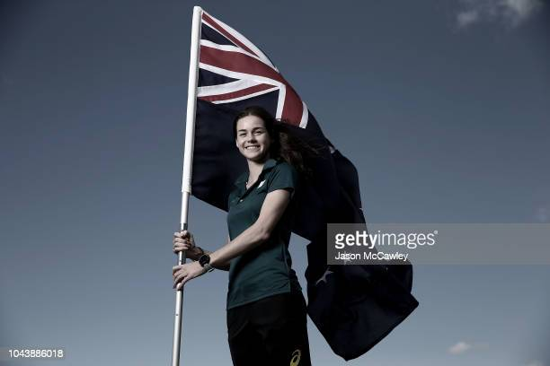 Keely Small poses during the Australian Youth Olympic Games Flag Bearer Announcement at The Boathouse St Ignatius' College Riverview on October 1...