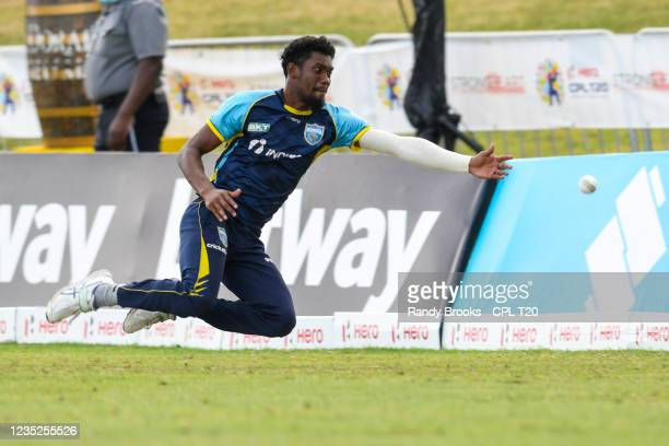 Keemo Paul of Saint Lucia Kings fielding during the 2021 Hero Caribbean Premier League Play-Off match 31 between Saint Lucia Kings and Trinbago...
