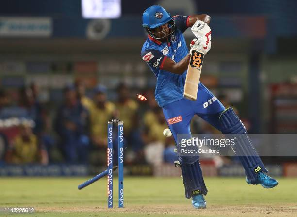 Keemo Paul of the Delhi Capitals is bowled by Dwayne Bravo of the Chennai Super Kings during the Indian Premier League IPL Qualifier Final match...