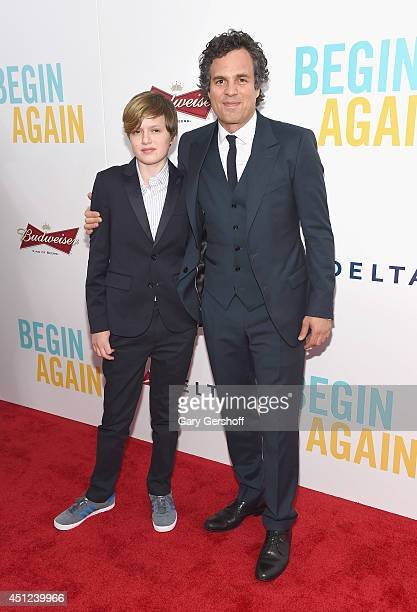Keen Ruffalo and Mark Ruffalo attend the 'Begin Again' premiere at SVA Theater on June 25 2014 in New York City