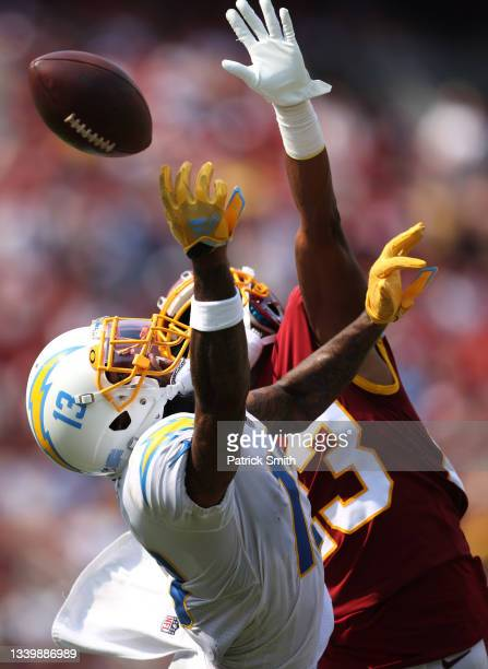 Keenan Allen of the Los Angeles Chargers can't catch a pass during the third quarter against the Washington Football Team at FedExField on September...
