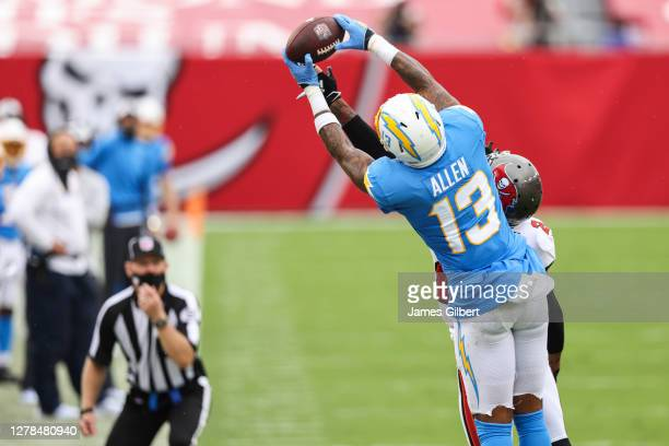Keenan Allen of the Los Angeles Chargers catches a pass during the second half of a game against the Tampa Bay Buccaneers at Raymond James Stadium on...